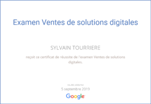 Certification Vente de Solutions Digitales - Google
