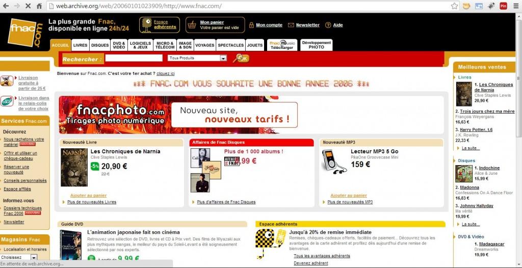 Projet e-commerce FNAC en 2006