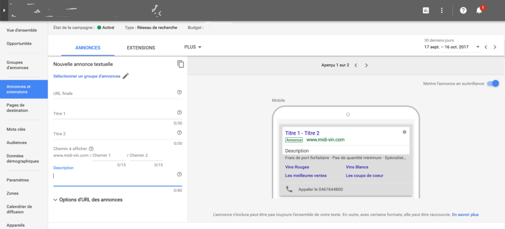 Structure Annonce Google Adwords