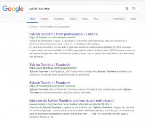 Résultats Google Sylvain Tourriere