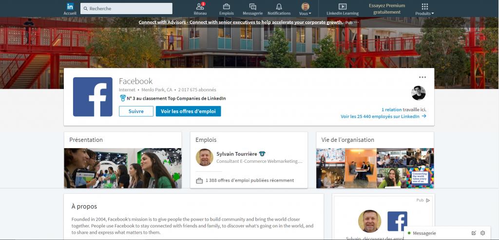 LinkedIn Entreprise Facebook