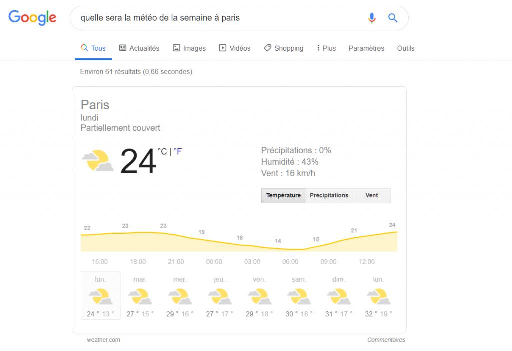 Exemple de résultat fourni par Google suite à une mise à jour Google Colibri
