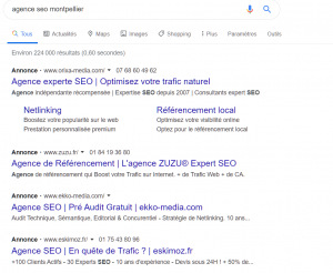 4 annonces Google Ads positionnées sur la recherche agence seo montpellier