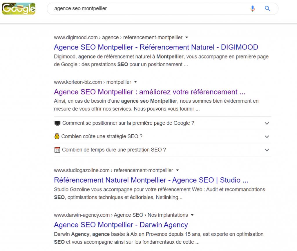 Résultats Google sur requête agence seo montpellier en mode connecté