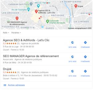 Featured Snippets sur la requête agence seo montpellier