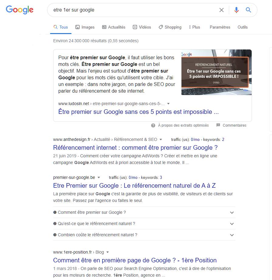 SERP etre 1er sur google