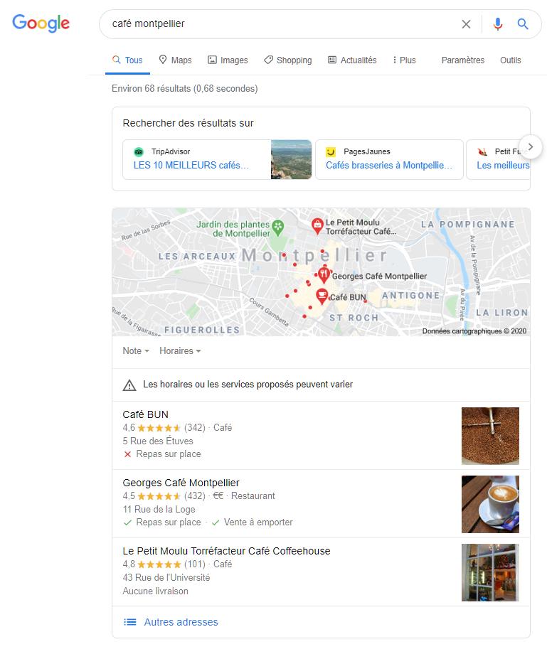 Etre premier sur Google Maps - exemple avec la requête café montpellier