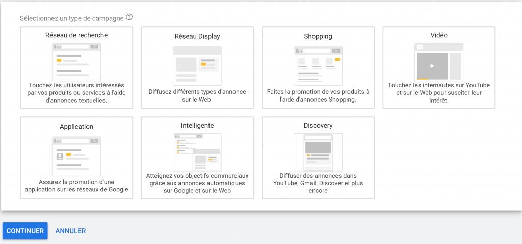 7 types de campagnes : search, display, shopping, vidéo, mobile app, smart et la toute dernière Discovery