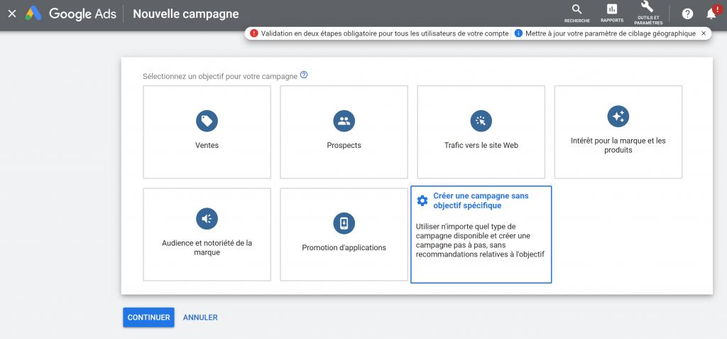 7 types de campagne sont proposés par défaut sur Google Ads