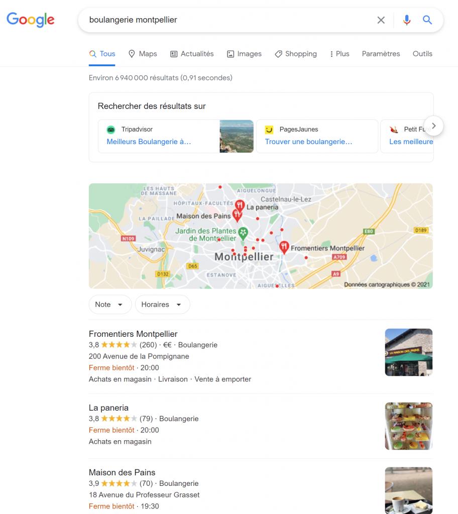 Page de résultat Google d'une recherche locale - SERP locale