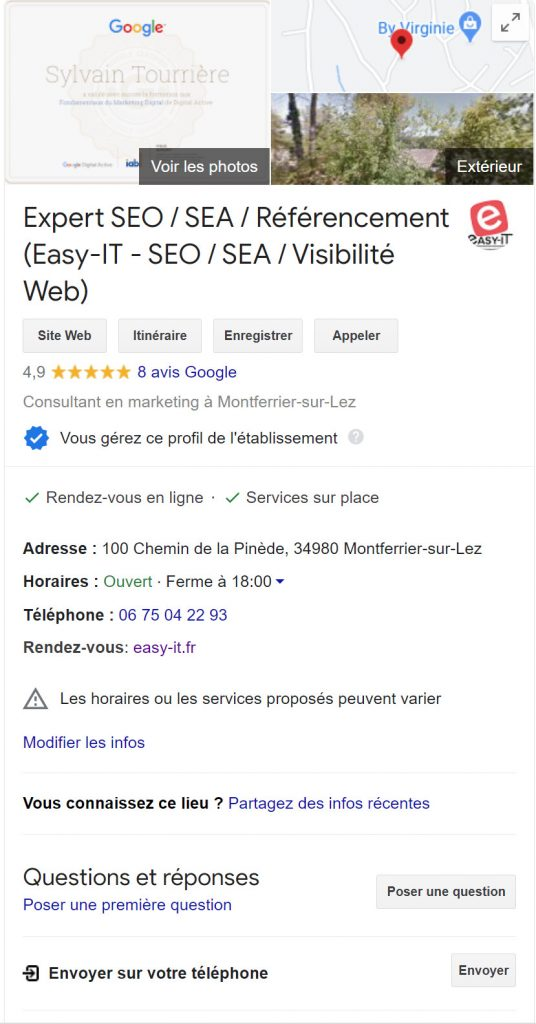 Fiche Google My Business Easy-IT spécialiste du référencement local