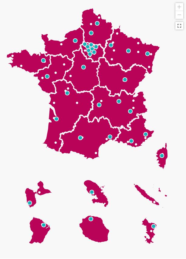 Carte des pôles PEPITE en France