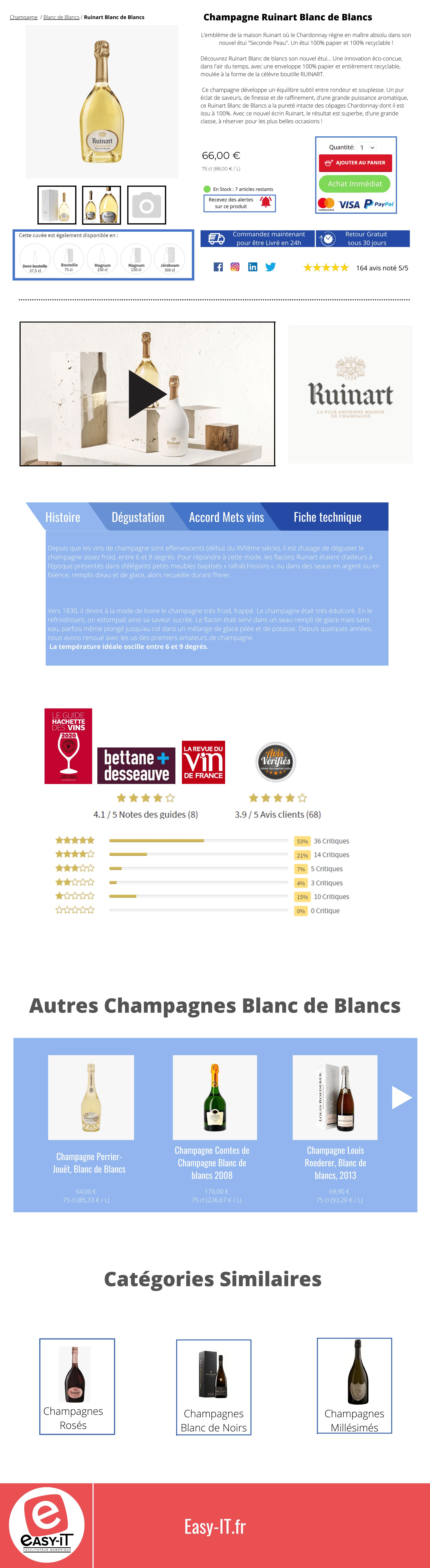 Fiche produit optimisée pour un site e-commerce de champagne